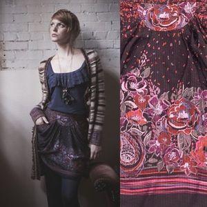 Anthropologie Anna Sui Silk Skirt